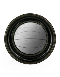 Wooden Black Moulded Frame Convex Fisheye Porthole Mirror 26.5cm